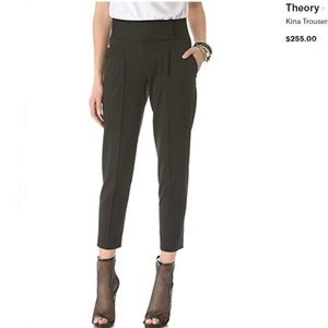 THEORY Black Wool Kina Trousers Size 6